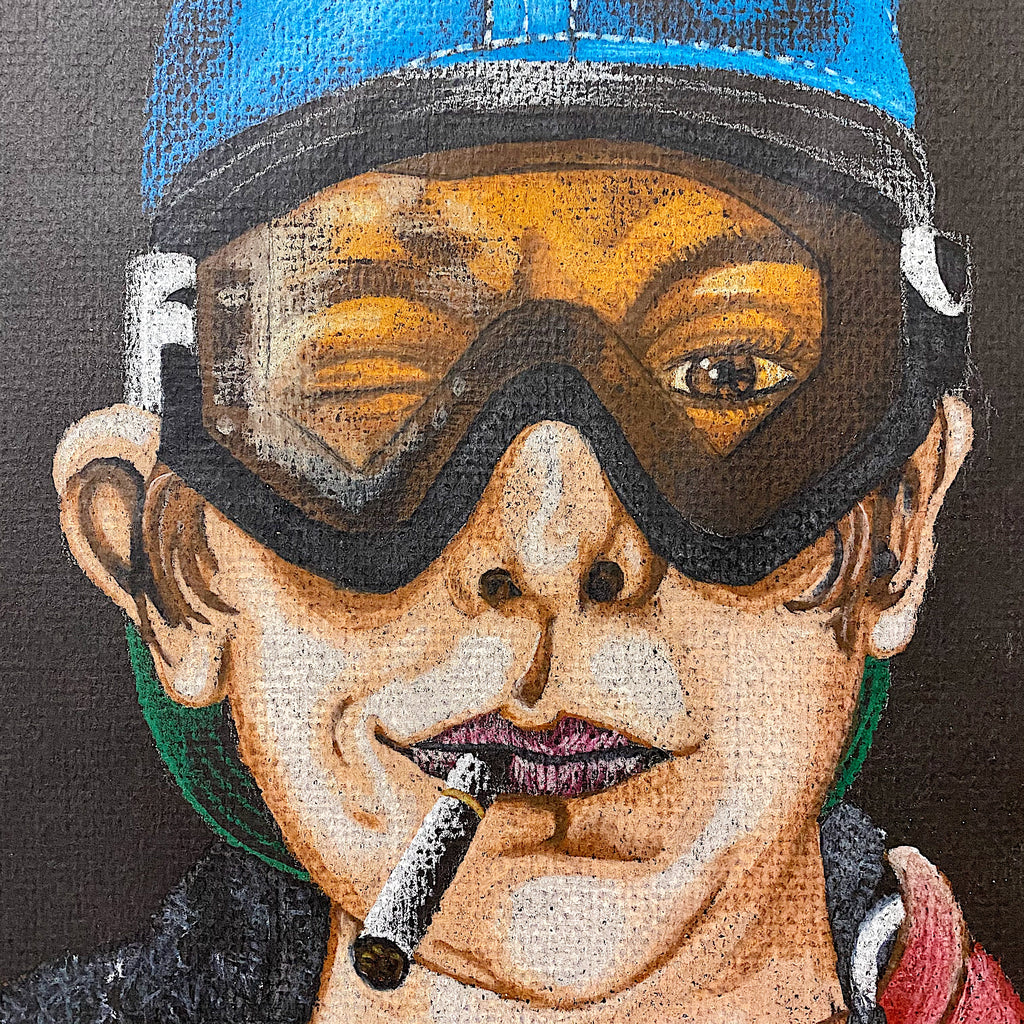 Vintage Street Art Painting of Person in Ski Goggles - Rare 1990s Street Style Artwork - Cool Underground Paintings - Hip Hop Culture - Rare