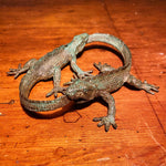 Stephen Maxon Bronze Sculpture of Lizards Eating Tails - Ouroboros Alchemy Symbolism - Cycle of Life - Carl Jung - Mysterious Art