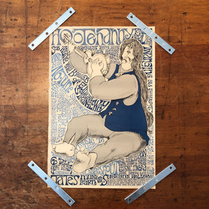 Rare Festoon Poster of Hippie Guitar Player - Hootenanny Tonight 1963 - Vintage Psychedelic Art - Festoon Films Satire Lithograph -