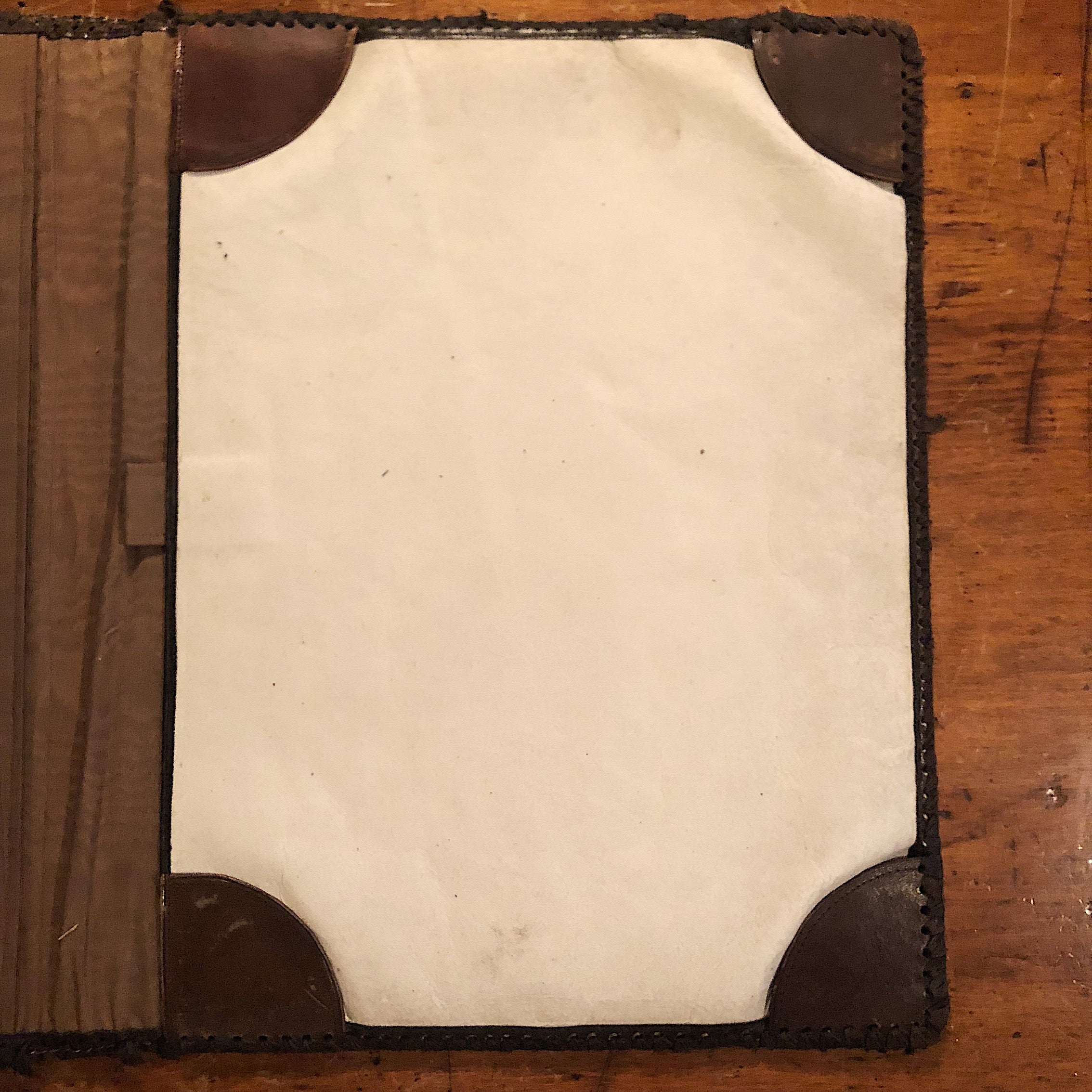 Antique Leather Portfolio Cover with Tooled Ornate Design