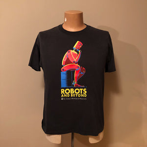 "Rare Robot T-Shirt from Science Museum Exhibition - Black XL - ""Robots and Beyond"" - 1988- Vintage Sci-Fi Graphic - A.I."