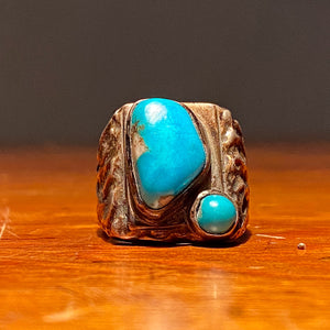 Front view of Vintage Dead Pawn Turquoise Biker Ring - Navajo Men's Size 9 - Unmarked Early Example - Rare Unusual Southwestern Design