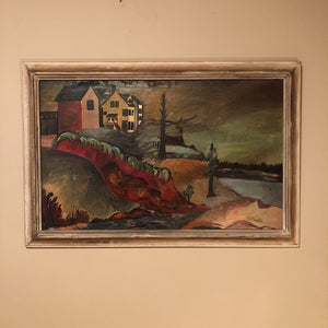 WPA Era Painting of Waterfront Landscape - New Deal - Large Oil on Canvas - Mystery Artist - Depression Era - 43 x 29