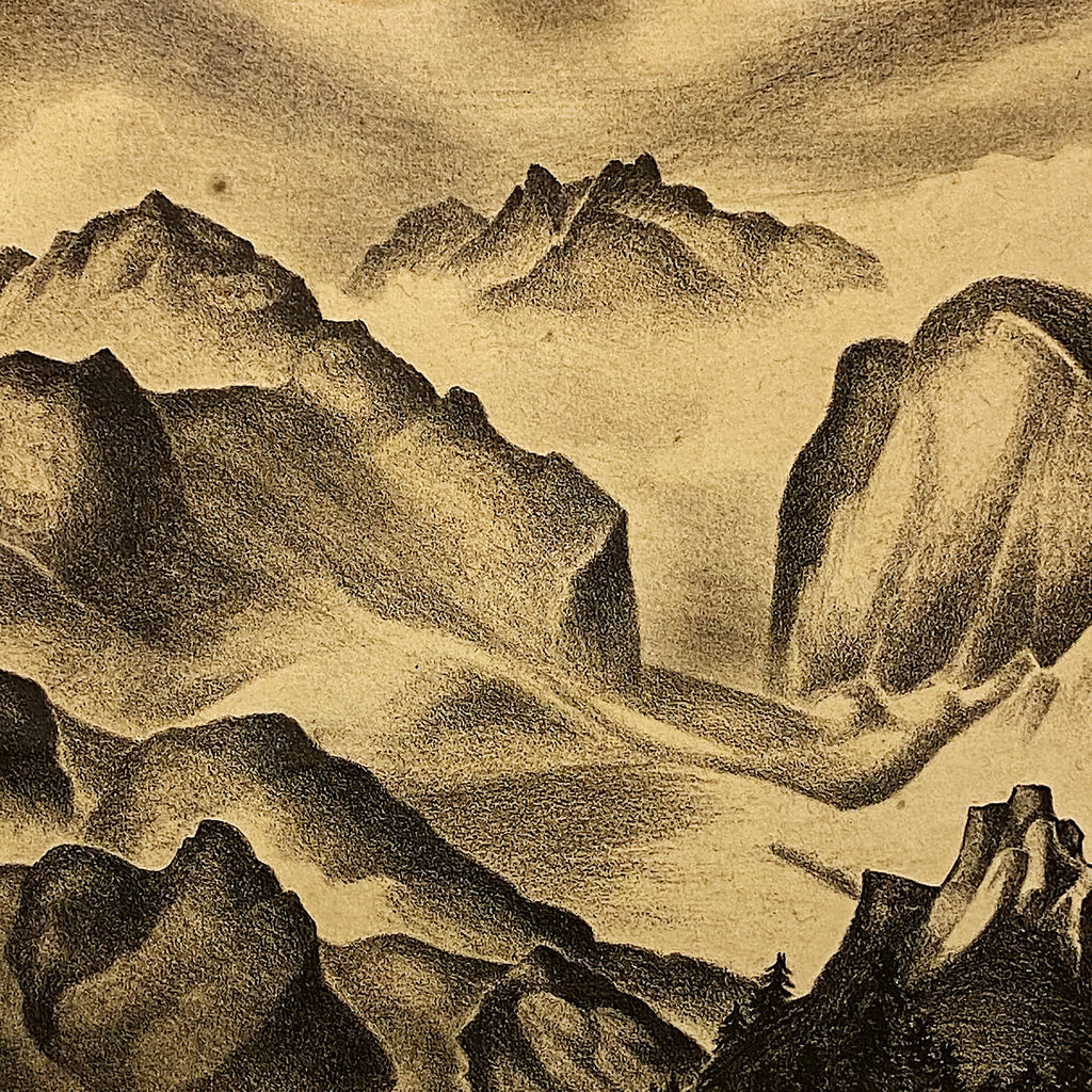 Rare WPA Era Print by Clarence Shearn of Mountain Range- Limited Edition - 5 of 15 - 1930s WPA Artwork - Signed Lithograph Art