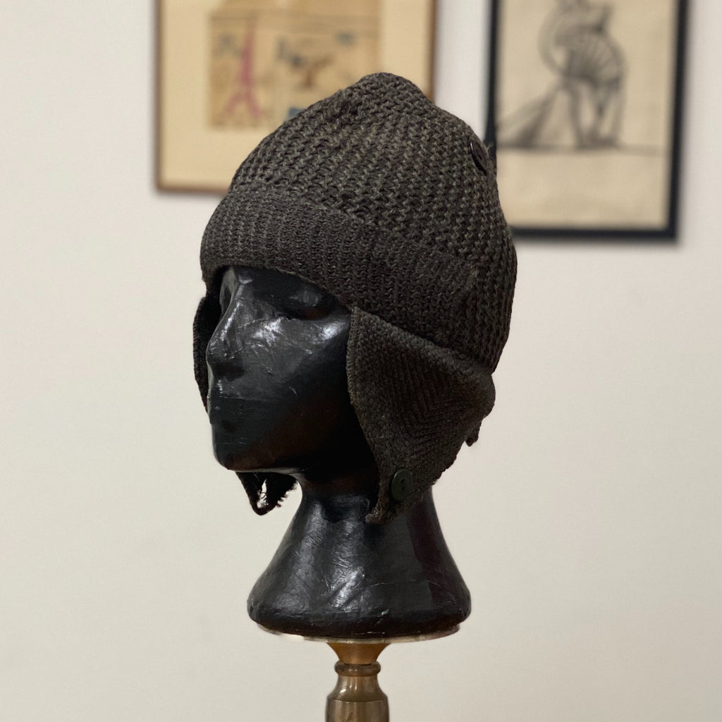 "1920s Eagleknit Wool Cap - Milwaukee Eskimo Cap  - 20 1/2"" Crown - Rare Antique Headwear - Vintage Clothing - Cool Design - Little Rascals"