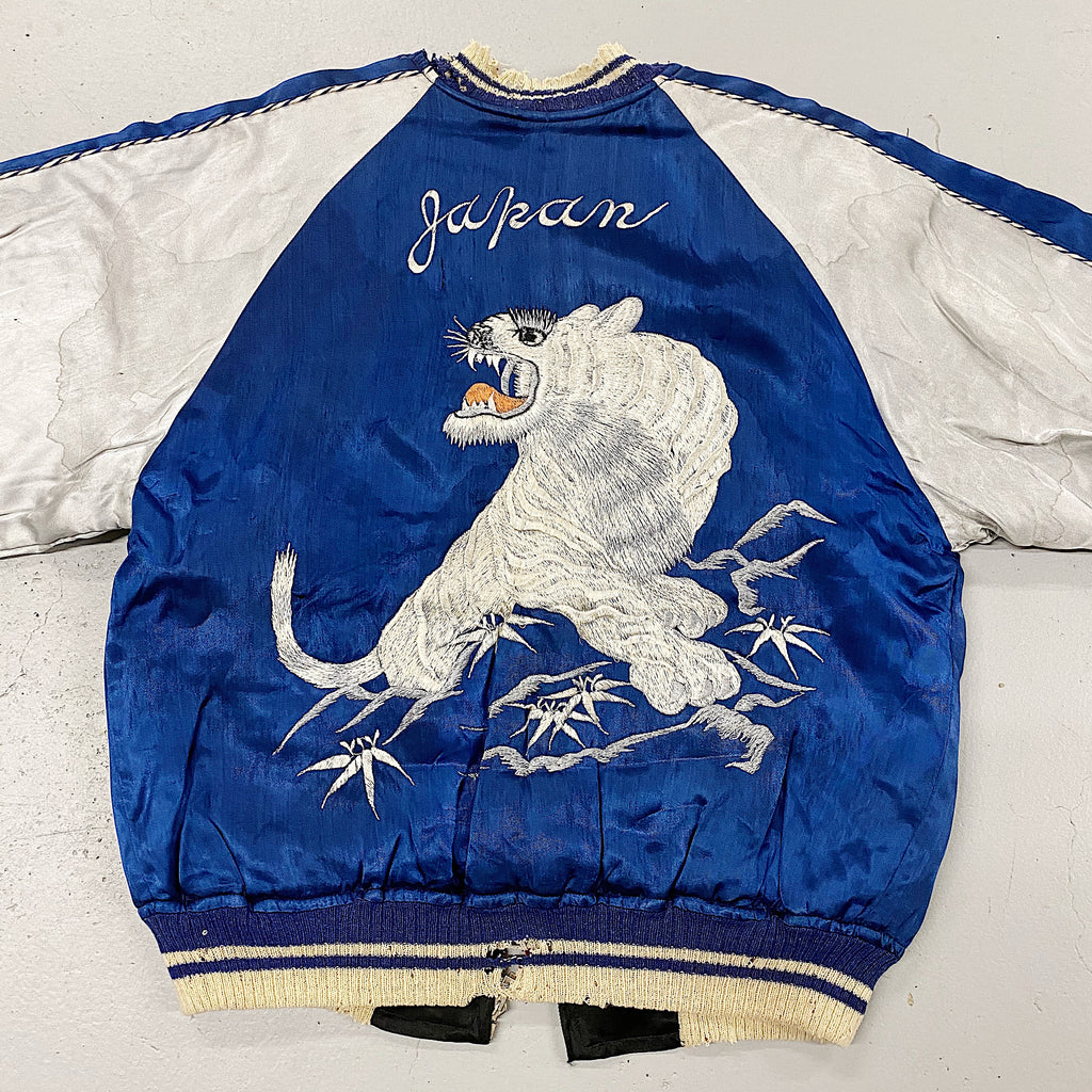 1940s WW2 Souvenir Custom Jacket | Sukajan Reversible Reverse Tiger Embroidery