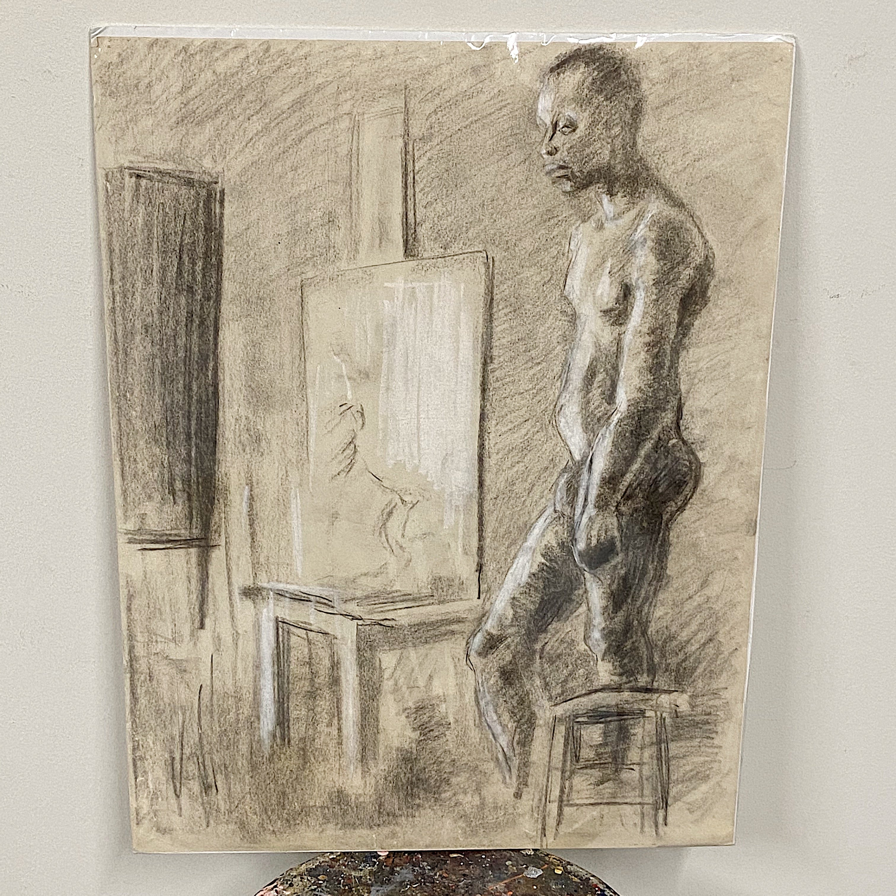 "African American Charcoal Drawing from 1970s - Man Standing in Retrospection - 24"" x 18"" - Rare Vintage Wall Art - Powerful Artistic Vision Full View"