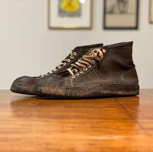 1940s Military Sneakers - 10? - Unmarked Converse Style - Adidas Stripes - Vintage Black Street Style Shoes - Rare Display Piece - Original