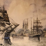 Frank Will Watercolor Painting of Fecamp Port in France