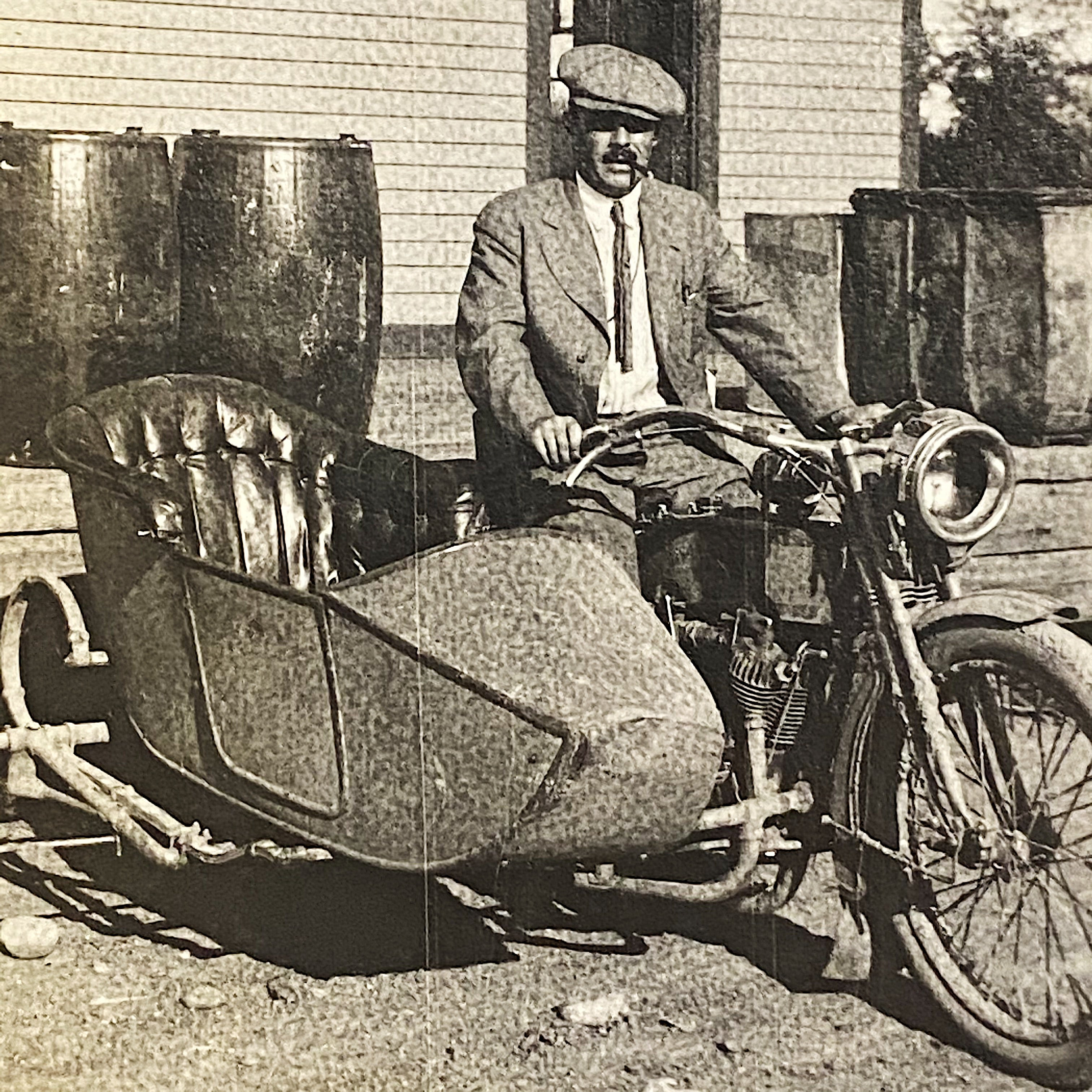 Old Motorcycle and Sidecar from Antique Photo Album from Early 1900s - Indian Motorcycle - Car Racing - Railroad Photography - Camping - Military - 138 Photographs