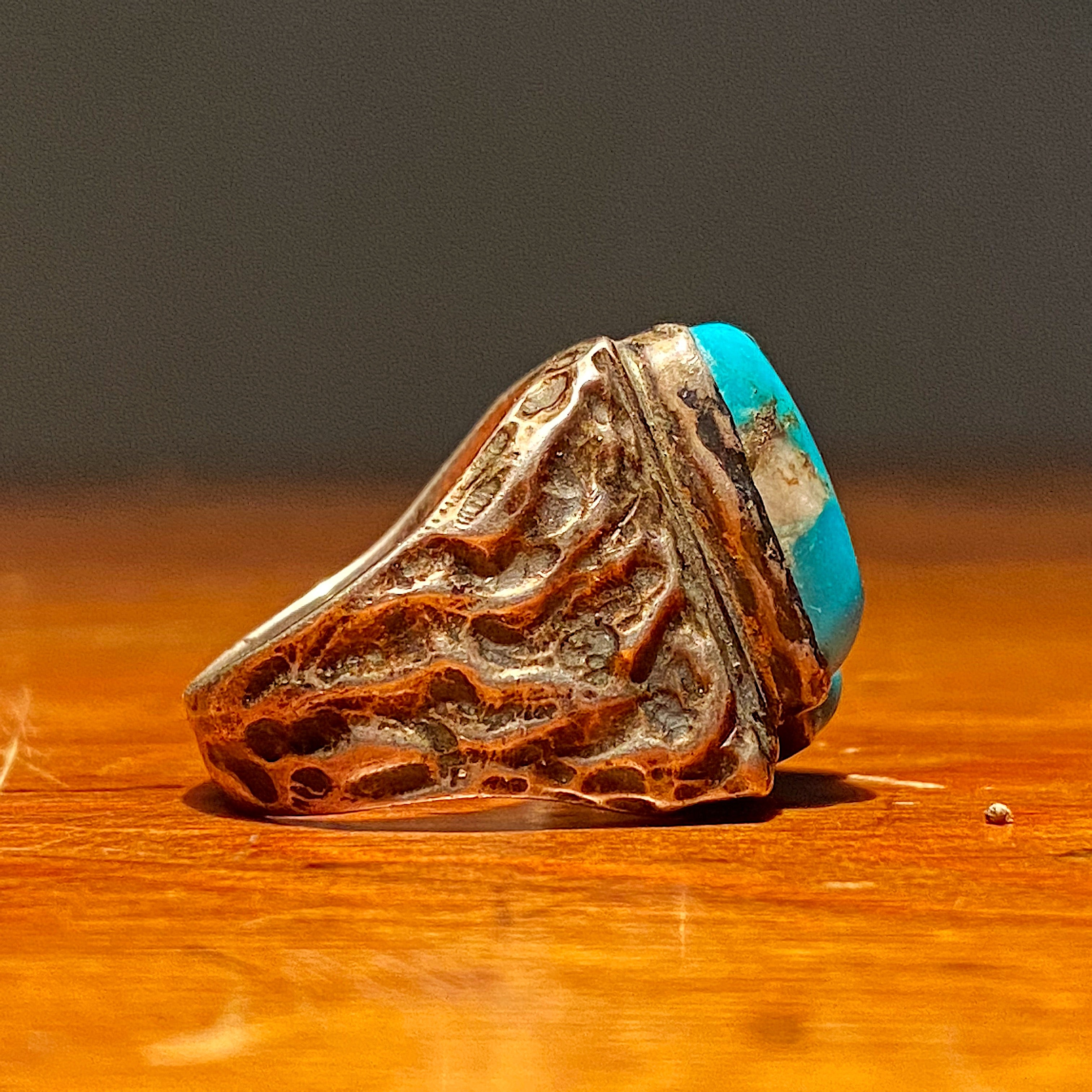Side of Vintage Dead Pawn Turquoise Biker Ring - Navajo Men's Size 9 - Unmarked Early Example - Rare Unusual Southwestern Design