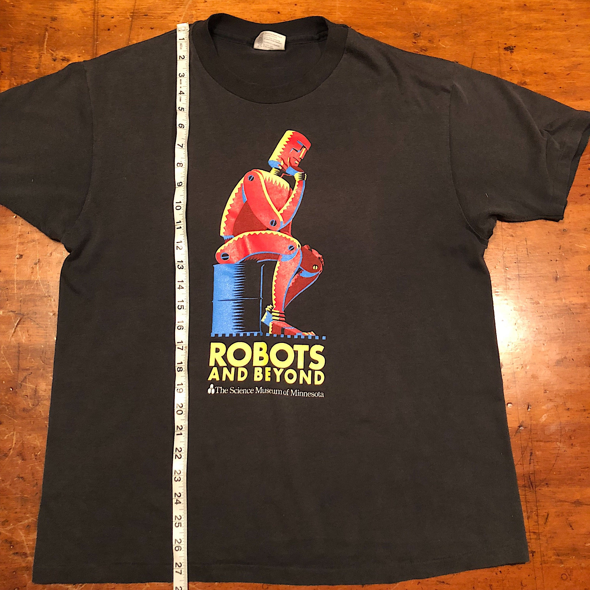 "Rare Robot T-Shirt from Science Museum Exhibition - Black XL - ""Robots and Beyond"" - 1988"