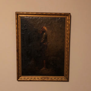 Antique Oil Painting of Arabian Warrior Peering into the Darkness - Mystery Artist - Persian Artwork  - Orientalist