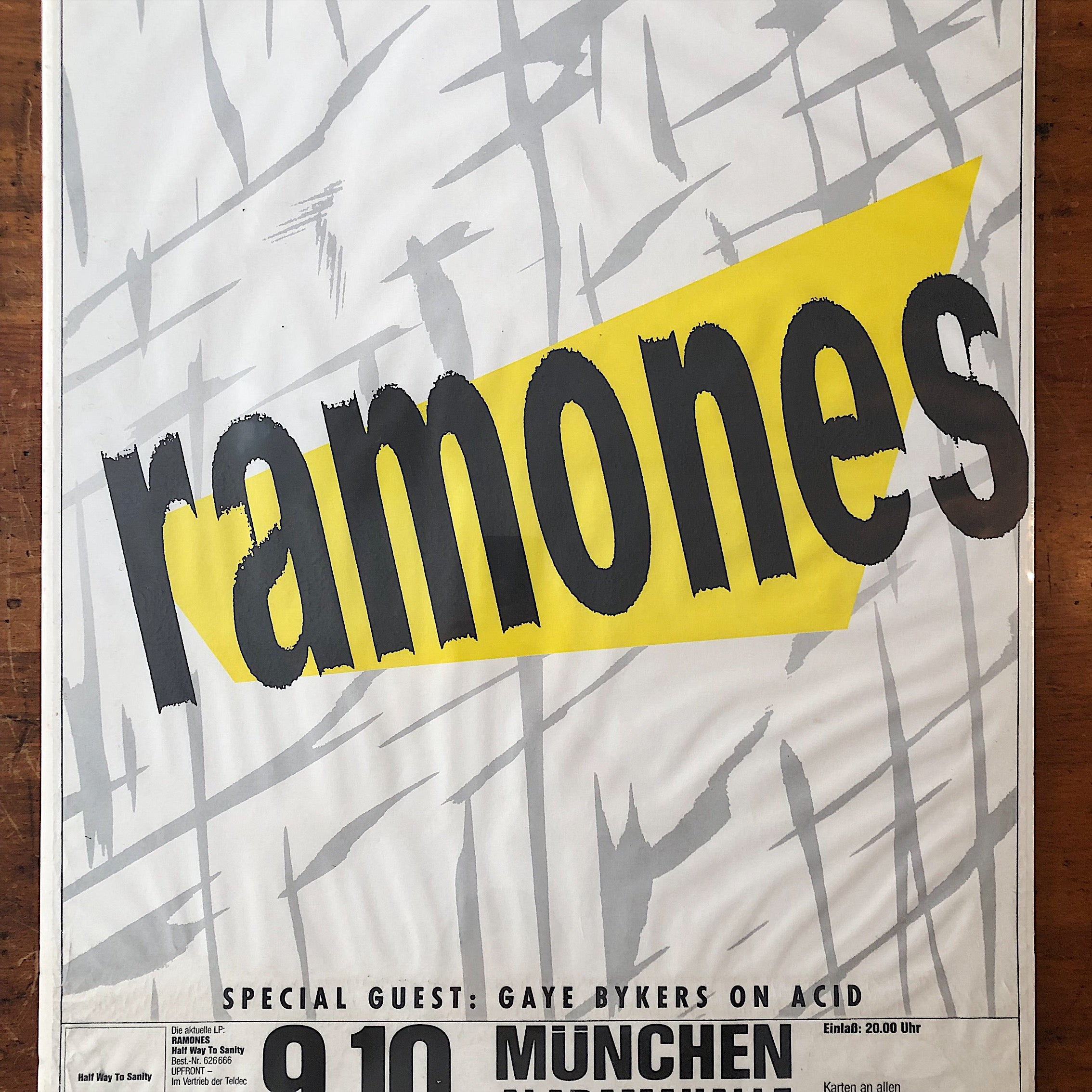 "Ramones Concert Poster from Munich Germany 1987 - Punk Rock Memorabilia - Rock Posters - Half Way to Sanity - 33"" x 23"""