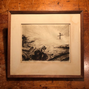 Nils P. Larsen Drypoint Etching of War Scene - What Price Fuhrer? - Pencil Signed - Hawaiian Artist - Listed