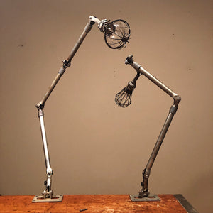 Vintage Ajusco Loc Industrial Task Lights - Set of Articulating Lamps with Cages- 1950s - Industrial Decor - Machinist