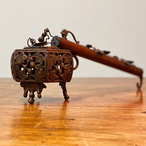 19th Century Yatate Inkwell and Pen Holder - Bronze Japanese Antiques - Rare Writing Collectible - Asian Decor - Opium Pipe Attribution Opium Pipe