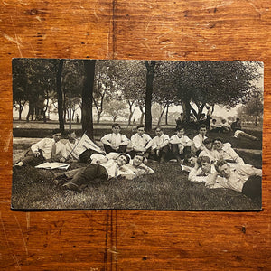 Rare Antique RPPC of White Steamer Group on Campus - Early 1900s Unusual Postcard  - College Students Lounging - Strange Vintage Postcards