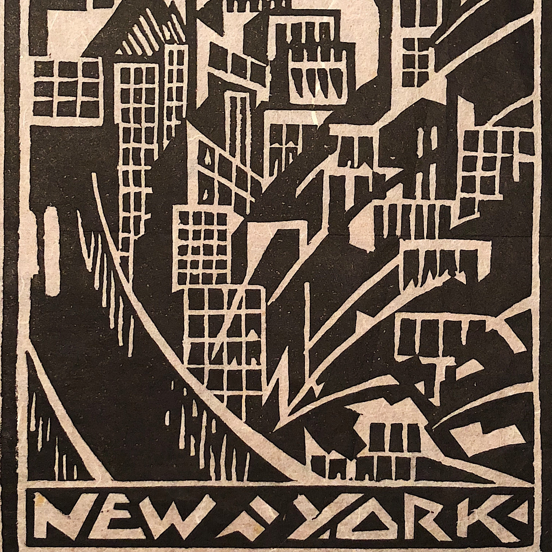 New York City Art Deco Woodcut from 1930s