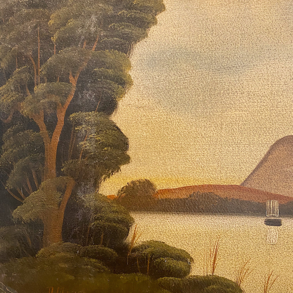 1920s Nicaraguan Painting of Managua Cove | Military Provenance