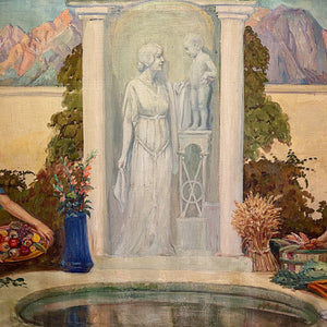 Mythological statue in James Edwin McBurney WPA Mural Painting of Allegorical Scene | 1930s