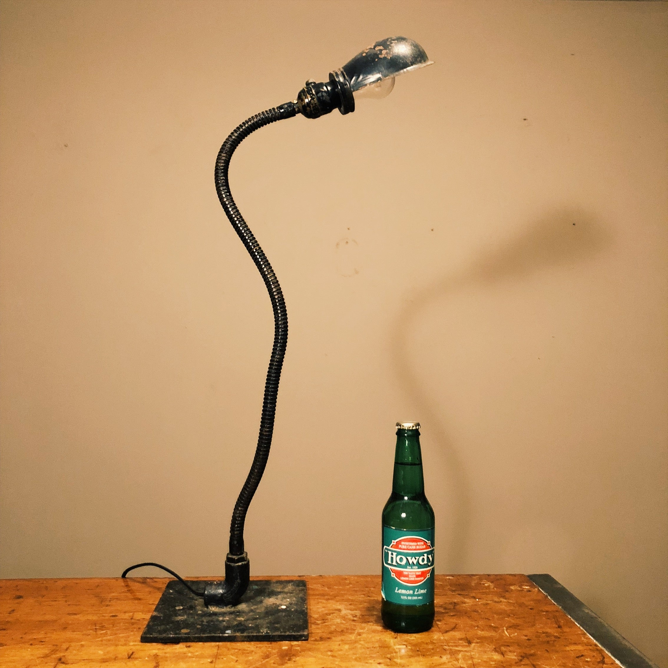 Vintage Industrial Machinist Table Lamp with Hubbell Shade  Gooseneck Frankenstein Light - Snake Design