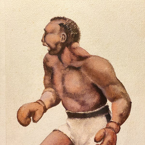 WPA Era Painting of Boxing Match | 1930s Watercolor on Paper