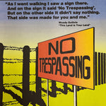 Rare Political Lithograph Poster by Rich Kees - No Trespassing - 1980s Minnesota Artist - Woody Guthrie - Progressive Artwork - Historical