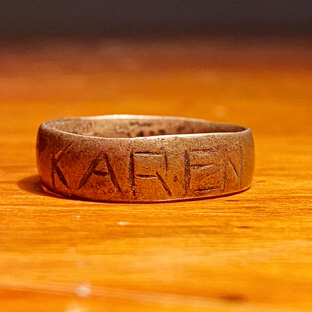 "Antique Ring with ""Karen"" Carved into Band - Size 9.5 -  Vintage Unusual Jewelry - Sterling Silver? - Primitive Statement Rings - Rare"