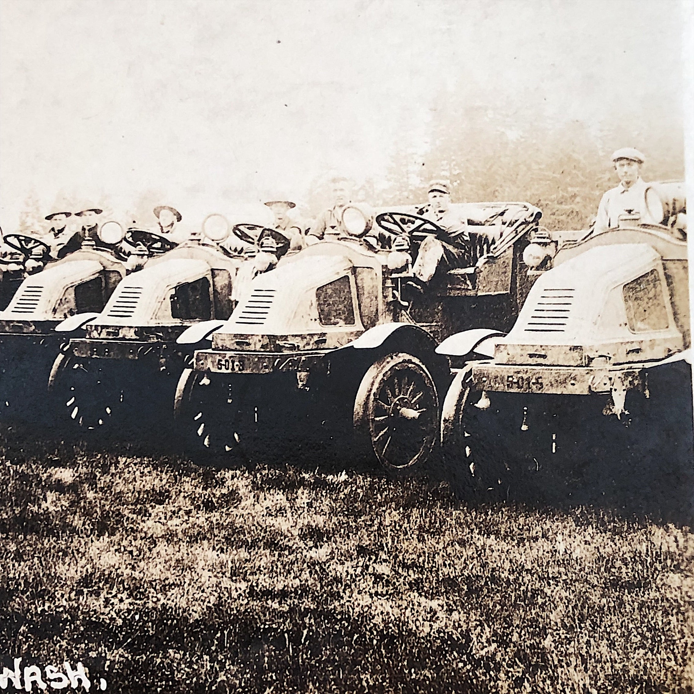 Antique WW1 Postcard of Army Trucks - Rare RPPC - American Lake Washington - Unused - Early Mack Kelly Springfield 3