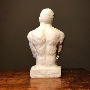 Vintage Plaster Sculpture of Pugilist - Mystery Artist - 1990s? - Boxer Figure - Boxing Art - Signed - African American Art