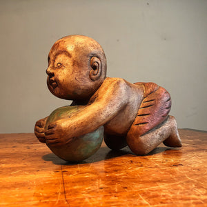 Antique Opium Pillow of Baby with Ball - Chinese Wood Carving - Opium Den Relic - Old Estate Find - Rare Karako Art - Early 20th Century