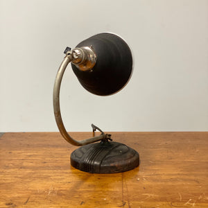 Reverse view of Vintage Articulating Desk Lamp with Unusual Shade - General Electric - Rare Art Deco Light - Decor - Black and Tan - Antique Lighting