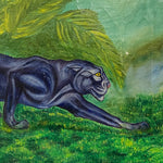 Rare WPA Era Painting of Black Panther in Tropical Scene - 1950s - Signed Vaughn Lee - Vintage Folk Art Wildlife Paintings - Unusual Style