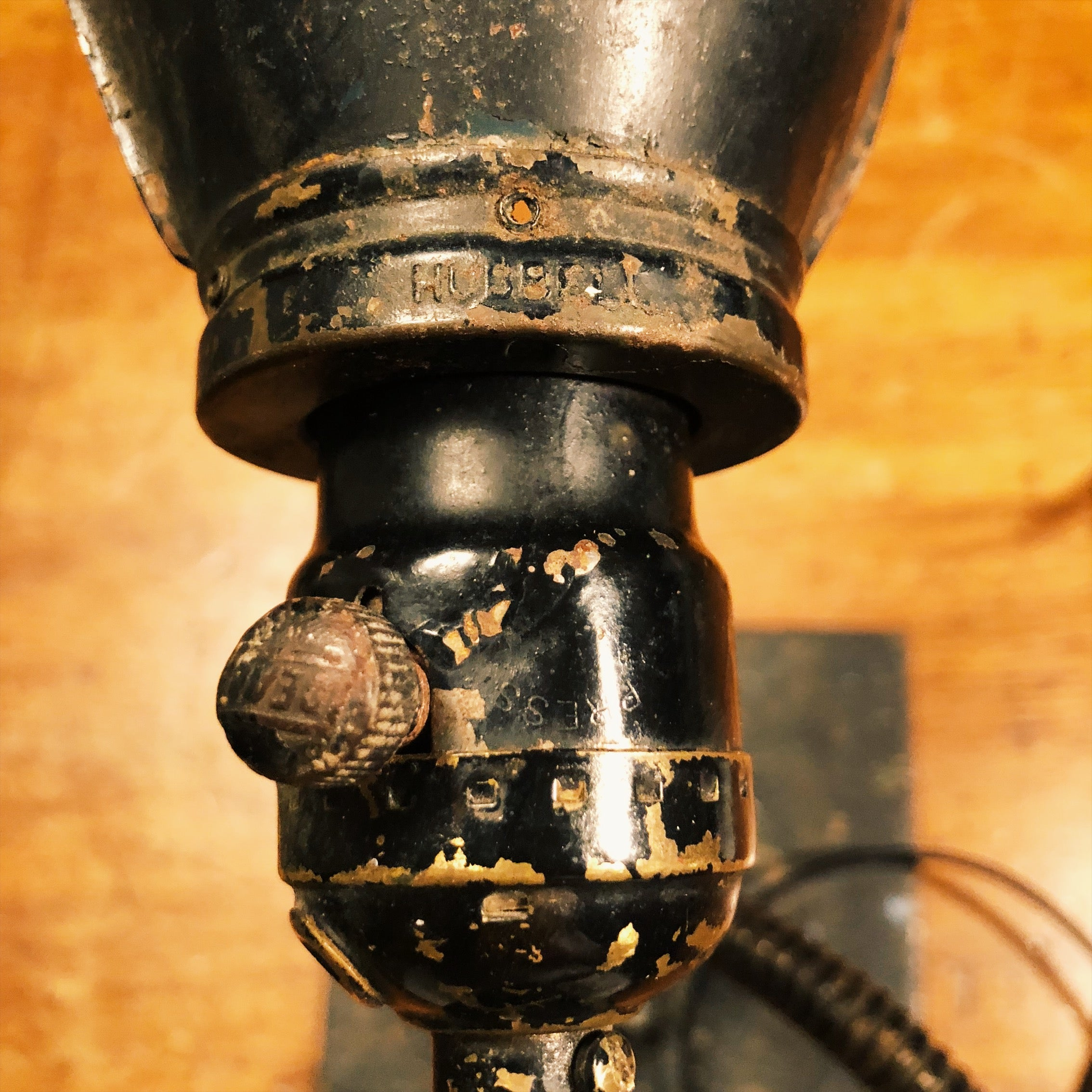 Socket on Vintage Industrial Machinist Table Lamp with Hubbell Shade