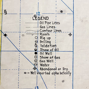 "Legend for Rare 1920s Oil Field Map with Hand Painted Land Rights Grids - Louis W. Hill Estate - 53"" x 37"" - Huge Wall Art - Early Data Visualization"