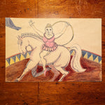 Outsider Art  of Circus Act from 1980s - Signed J. Mohni - Creepy Ink Watercolor on Board - Weird Fringe Artwork - Folk Art