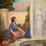 Woman and Cat in James Edwin McBurney WPA Mural Painting of Allegorical Scene | 1930s California artist