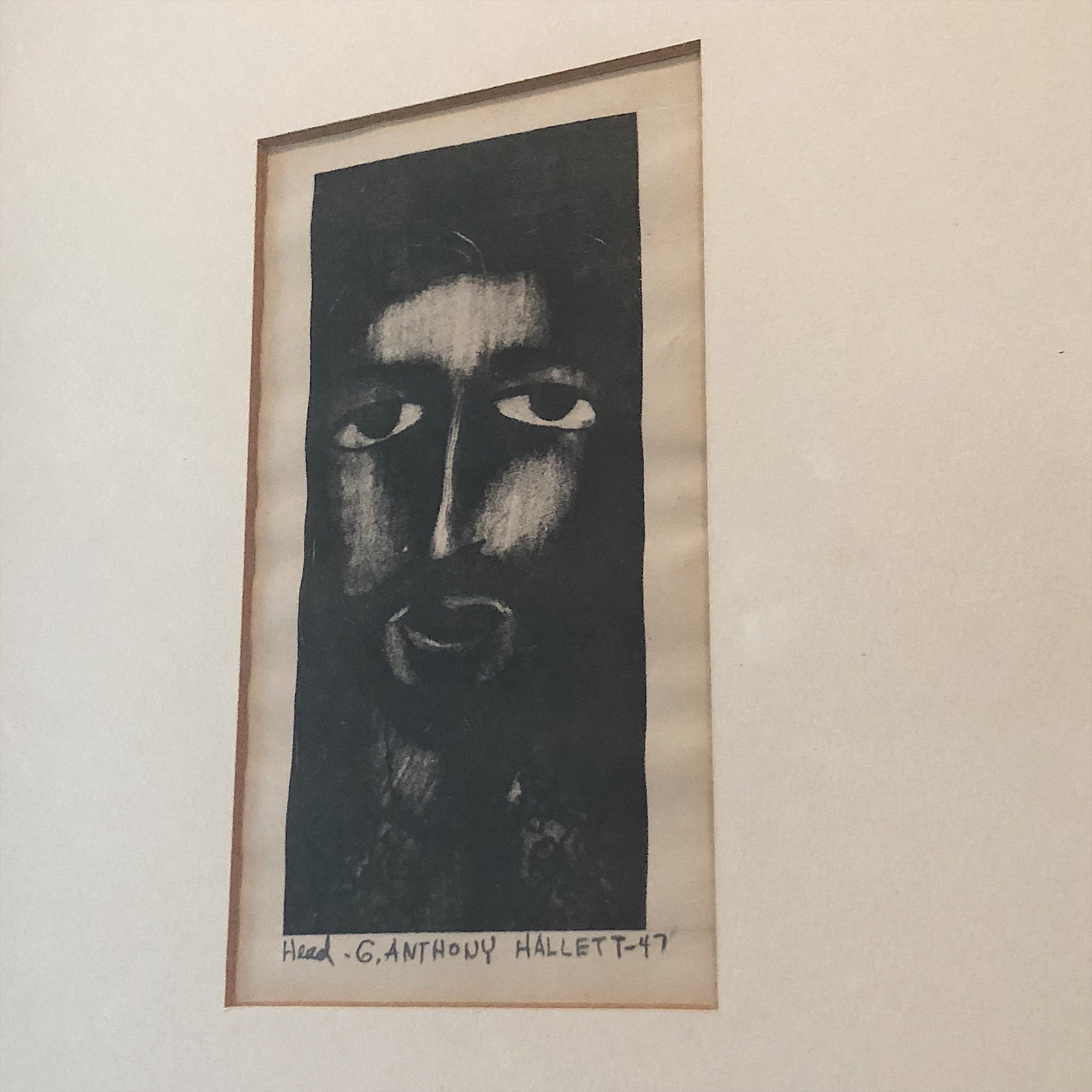 1940s Unusual Art Print of Haunting Face from WPA Era | 1947