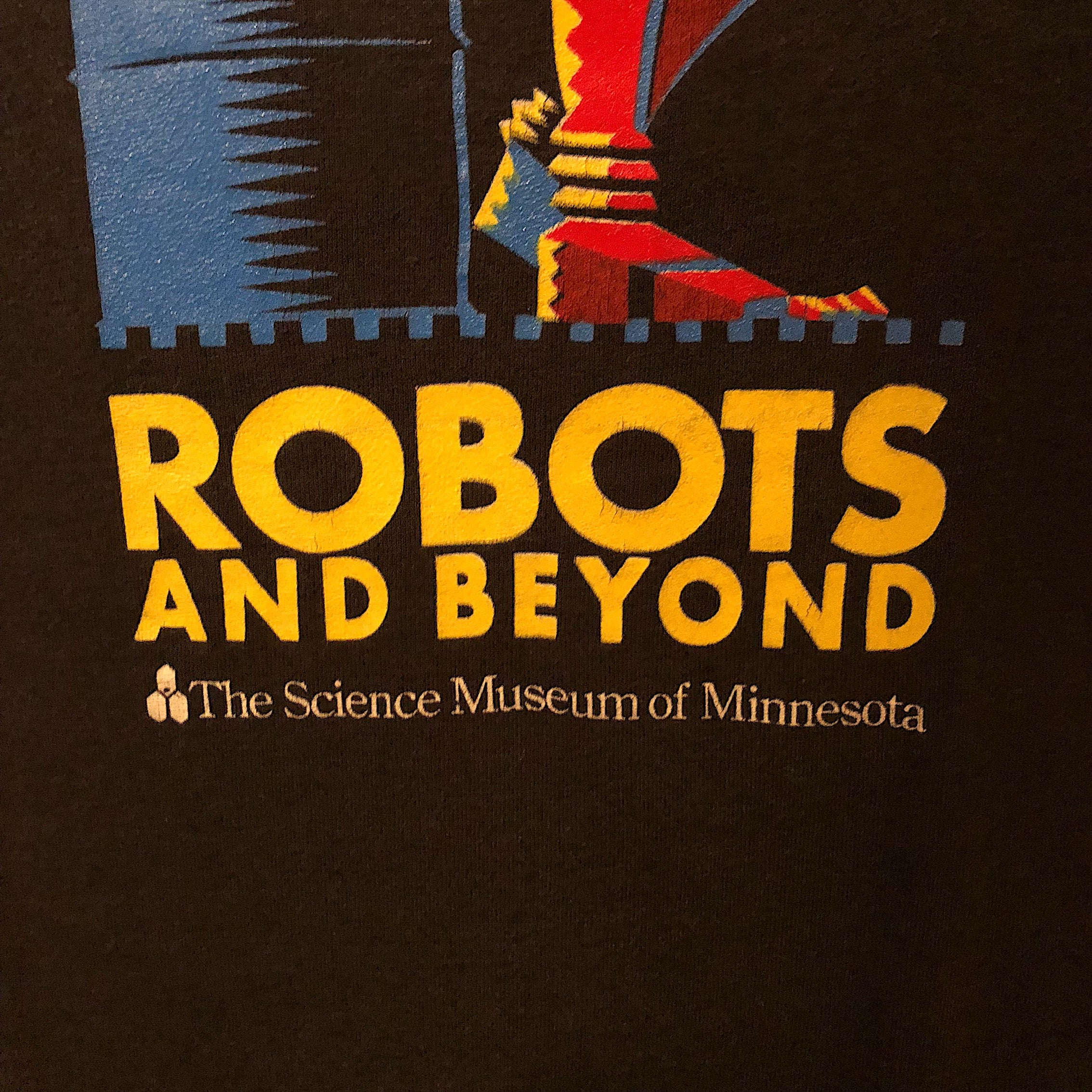 "Rare Robot T-Shirt from Science Museum Exhibition - Black XL - ""Robots and Beyond"" - 1988- Vintage Sci-Fi Graphic"