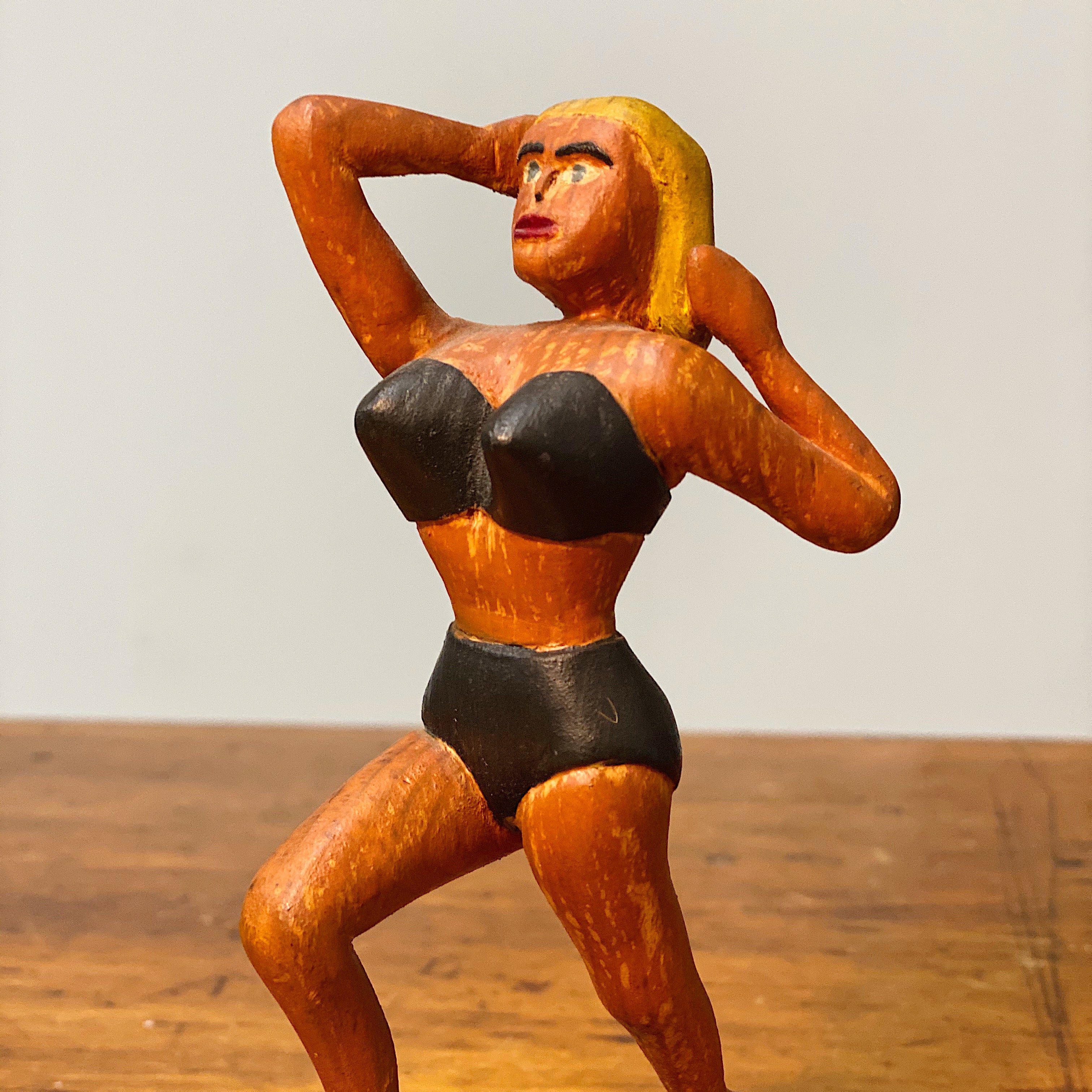 "1950s Folk Art Wood Carving of Blonde Bombshell in Bikini - Vintage Underground Art - 7"" Tall - Mystery Artist - Rare Sculpture Woman - Sexy"