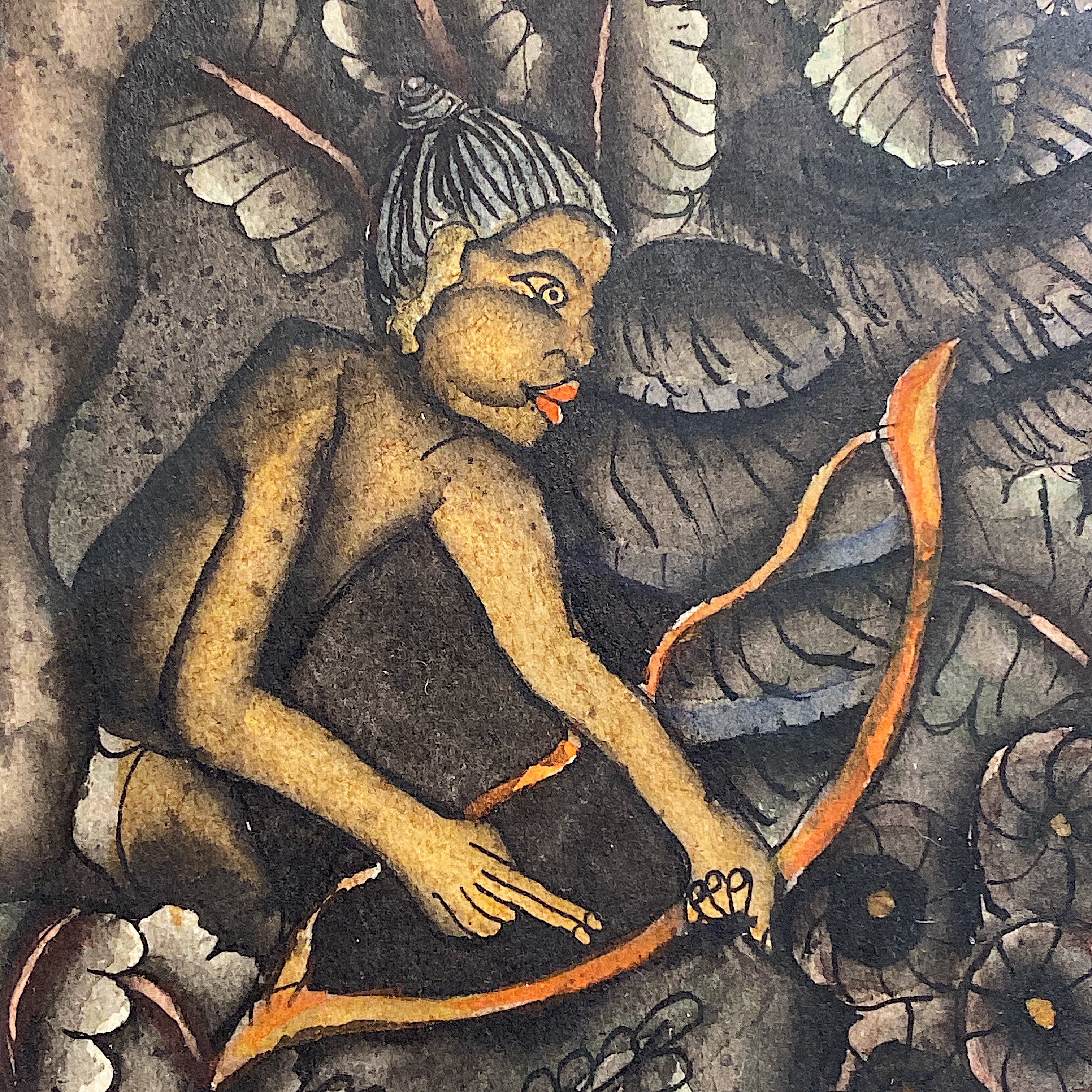 1930s Batuan Painting of Hunter in Forest | Ida Bagus Rai
