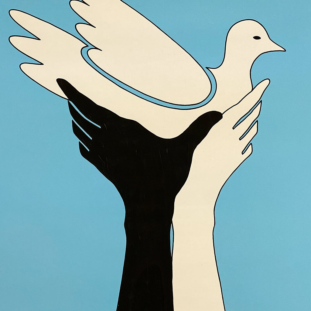 1960s Peace Poster with Dove and Hands - Rare Civil Rights Artwork - Blacklight? - Hippie Wall Art - Haight Ashbury - Counter Culture