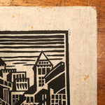New York City Woodcut Print from 1930s Art Deco Period