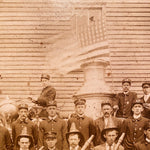Antique Firemen Photograph with Flag |  Early 1900s