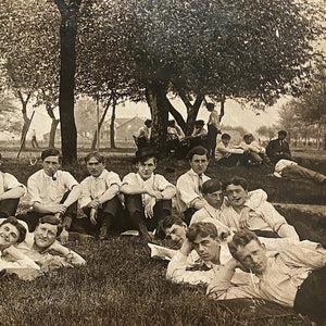 Antique RPPC of White Steamer Group on Campus | Early 1900s