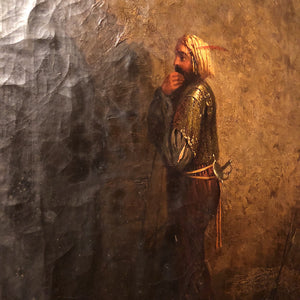 Antique Oil Painting of Arabian Warrior Peering into the Darkness - Mystery Artist - Orientalist Artwork