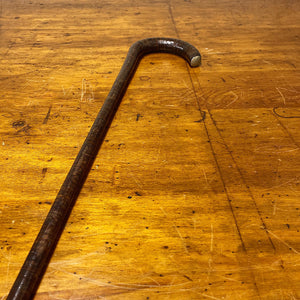 Antique Stacked Leather Cane with Rare Silver Thumb Cap | 1800s