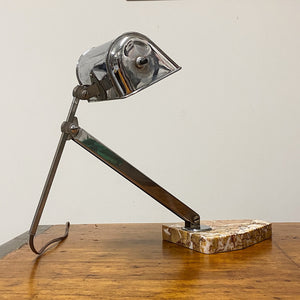Tilted 1930s French Chrome Articulating Desk Lamp with Marble Base - L'Artisanat Francais - Art Deco Paris France - Makers Mark - Antique Lighting
