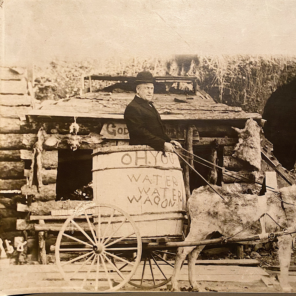 Large Antique Photograph of Temperance Water Wagon Promoting Prohibition - Black White Silver Gelatin Print - Rare North Dakota